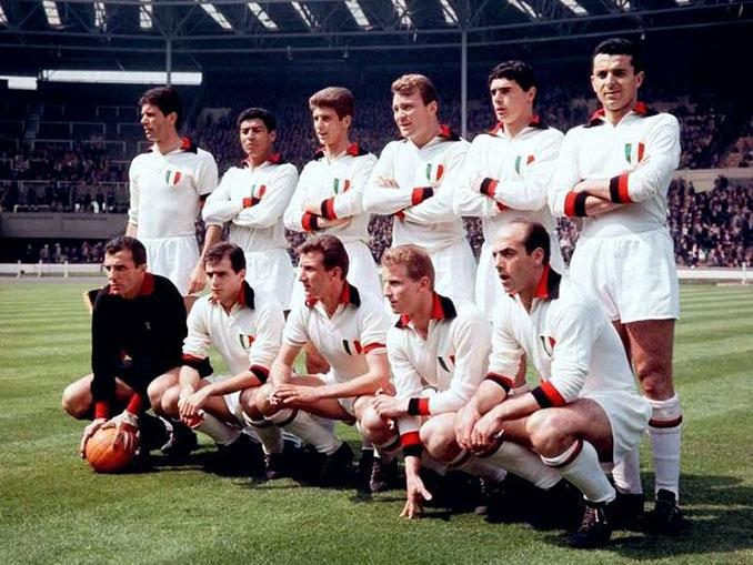 """AC Milan en la final de la Copa de Europa de 1963 vistiendo la """"maglia fortunata"""" - Odio Eterno Al Fútbol Moderno"""