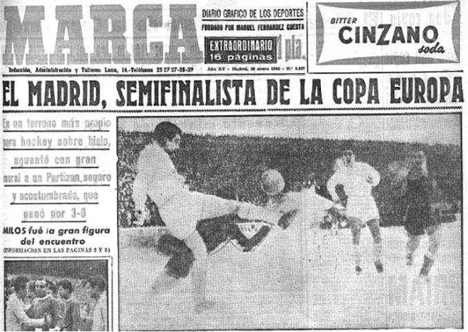 Portada de Marca tras la eliminatoria entre Partizan y Real Madrid en 1956 - Odio Eterno Al Fútbol Moderno