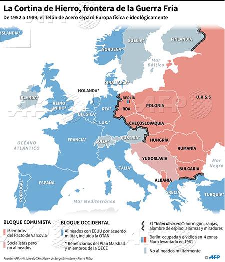 Mapa de Europa durante la Guerra Fría - Odio Eterno Al Fútbol Moderno