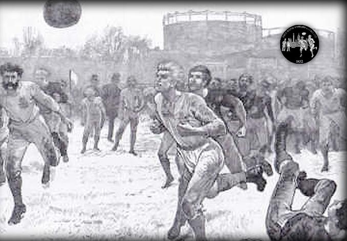 Grabado del Sheffield FC vs Hallam FC, el primer partido de la historia - Odio Eterno Al Fútbol Moderno