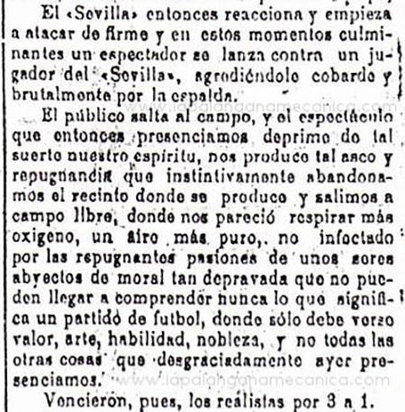 Crónica sobre los incidentes en el derbi sevillano del 24 de febrero de 1918 - Odio Eterno Al Fútbol Moderno