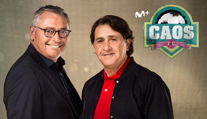 Raúl Ruiz junto a Michael Robinson en la promoción del programa Caos FC - Odio Eterno Al Fútbol Moderno