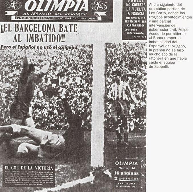 Noticia en prensa sobre el Barcelona vs Espanyol disputado en Les Corts en 1952 - Odio Eterno Al Fútbol Moderno