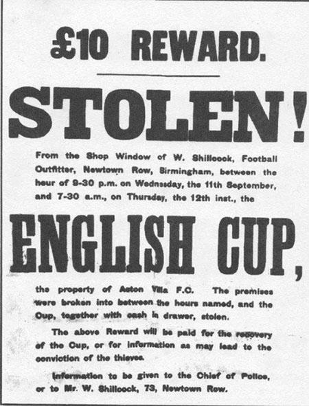 El Aston Villa ofreció una recompensa de 10 libras a quien recuperase el trofeo de la FA Cup - Odio Eterno Al Fútbol Moderno