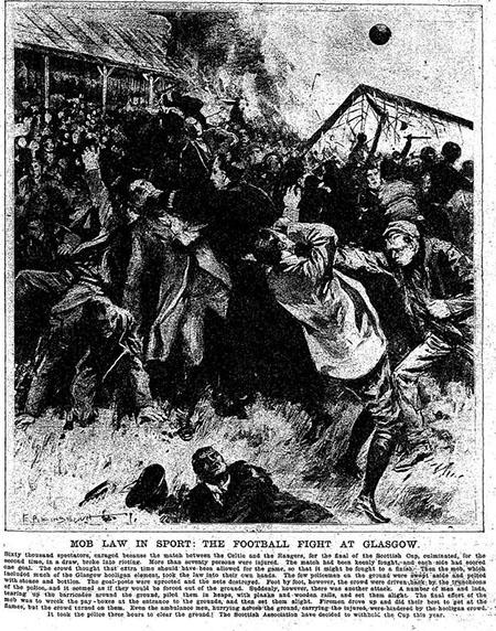Recreación de los disturbios durante la final de los disturbios en la final de la Scottish Cup de 1909 - Odio Eterno Al Fútbol Moderno