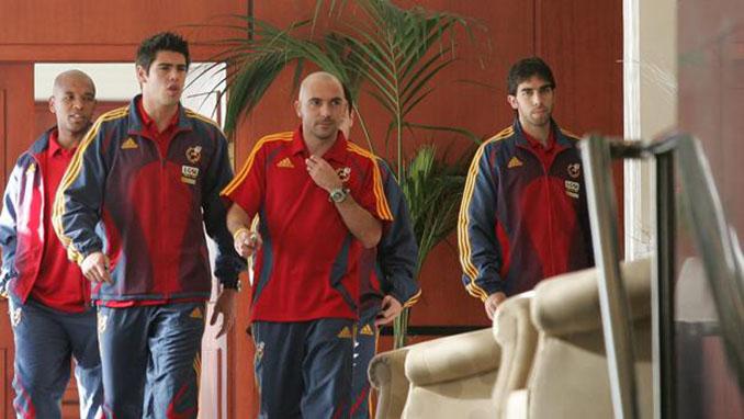 Senna, Valdés, De la Peña y Oleguer Presas en una concentración con la selección española - Odio Eterno Al Fútbol Moderno