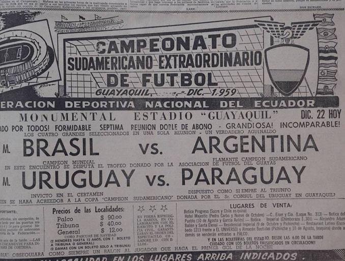 Cartel de la Copa America de 1959 disputada en Ecuador - Odio Eterno Al Fútbol Moderno