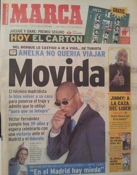 Portada del Diario Marca sobre uno de los escándalos de Anelka en el Real Madrid - Odio Eterno Al Fútbol Moderno