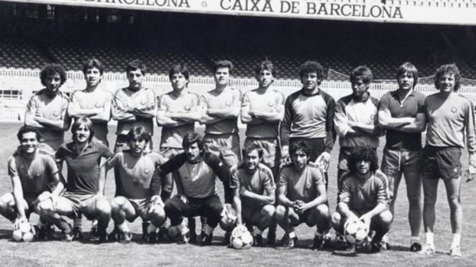 Plantilla del FC Barcelona en 1984 con Maradona y Mágico González - Odio Eterno Al Fútbol Moderno