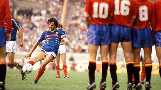 Platini abrió el marcador en el primer Francia vs España de la Eurocopa 1984 - Odio Eterno Al Fútbol Moderno